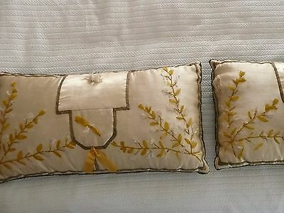 Antique French Pillows Silk Embroidery with Velvet back