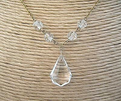 Edwardian/Deco Sparkling Clear Crystal Drop Necklace - RG? GP?