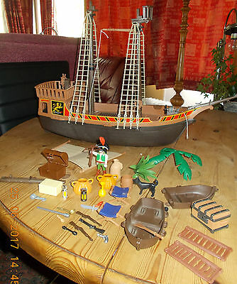PLAYMOBIL Pirate Ship 3750 and lots of accessories selling for Spares