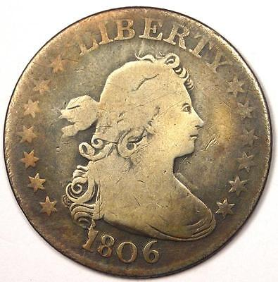 1806 Draped Bust Quarter 25C - VG / Fine Details - Rare Early Date Type Coin!