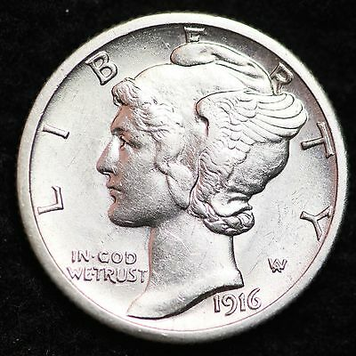 1916-S Mercury Dime CHOICE UNC FREE SHIPPING E234 UNB