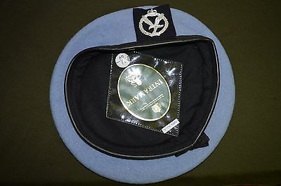 British Army Air Corps ACC Light Blue Beret With Badge Size 59 cm