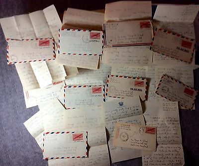 10 Censor Passed Navel Hand Written  Letters 1943-1945 From Overseas/u.s #let247