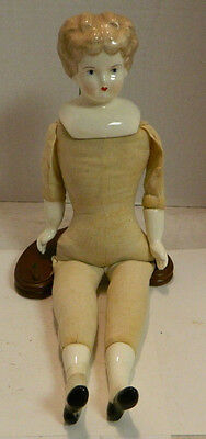 """Antique 13"""" Doll Porcelain Head, Hands & Feet Cloth Body Very Good Condition"""