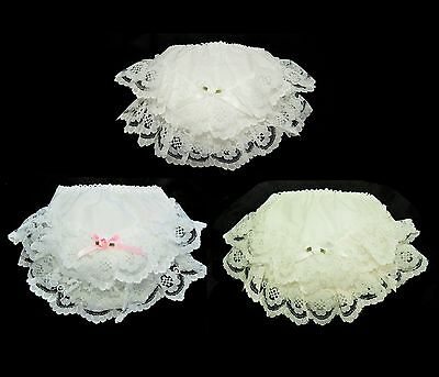 Baby Girls Ivory / White / White Pink Frilly Lace Knickers Christening Occasion