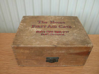 Wooden First Aid Box, Boots Drug Co.,with Original Contents & Instructions.