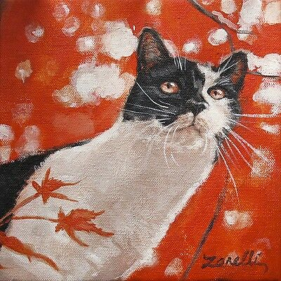 SET of 6 Black & White TUXEDO CAT Note Cards & Red Envelopes from orig. painting