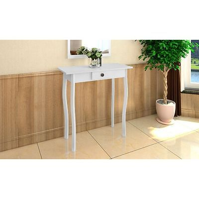 White Hallway Table  Wood High Console End Sidetable Cottage Style Furniture New