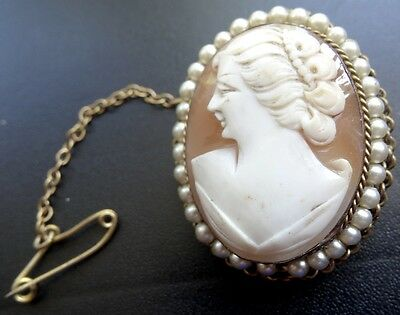 vintage carved pink shell cameo lady faux pearl pendant brooch 1950s  -N28
