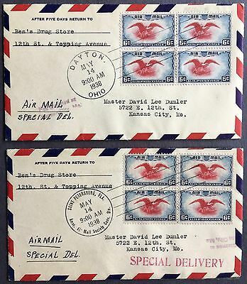Two FDC covers 1938 spec delivery with blocks of 4 Eagle air post stamp C23