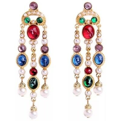 HAUTE COUTURE RED BLUE CRYSTAL RHINESTONE PEARL Bead Gripoix Chandelier Earrings