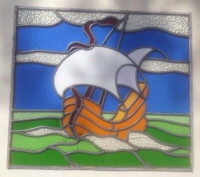 STAINED GLASS WINDOW SHIP SEA PERIOD LEADED BOAT NAUTICAL - Collection Only