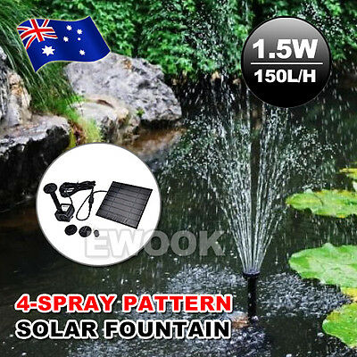 Solar Fountain Submersible Water Pump Power Panel Home Garden Pool Pond 1.5W New