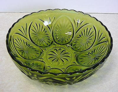 "Vintage Anchor Hocking Green Early American Star Of David Presut 8"" Bowl"