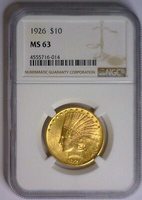 1926 ~ $10 Indian Gold ~ NGC MS63 #014