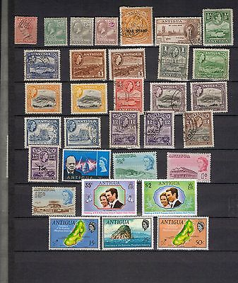 Antigua. QV-QEII. A selection of MH and Used stamps with varieties.