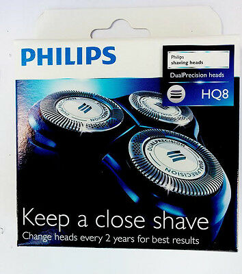 Philips HQ8 Replacement Shaving Heads Electric Razor Shaver Dual Blade Pack of 3