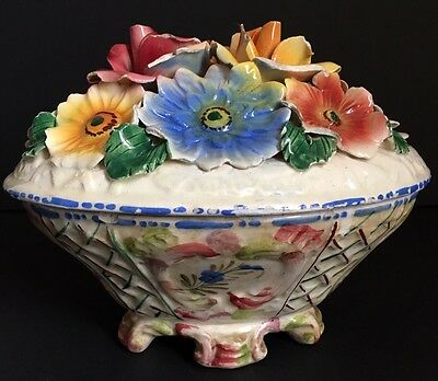Vintage Hand Painted Decorative Covered Dish With Flowers Marked Italy