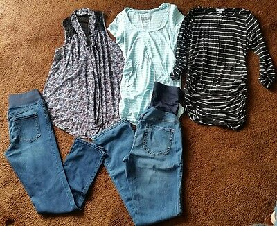 Lot of 5 Maternity Clothes outfits Jeans Tops Size 6 Small liz lange old navy
