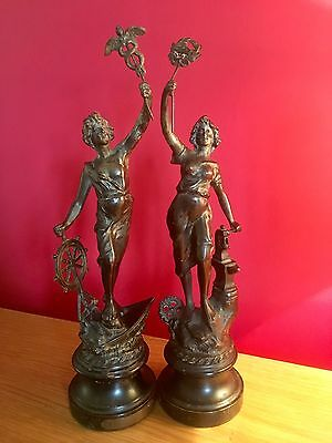 "Pair of Antique French Spelter Figures Depicting ""Commerce"" & ""Industry"". 35cm"