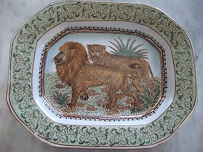 VINTAGE CHINESE PLATE - Hand Painted Hard Paste Porcelain - Pair of Lions
