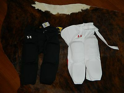 Lot of 2 Under Armour Boys' Integrated Football Pad Pants, Black & White NWT