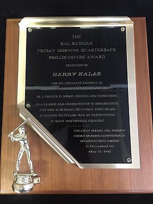 Autographed Harry Kalas Broadcasters Award Plaque Wcoa Kalas Personal Collection