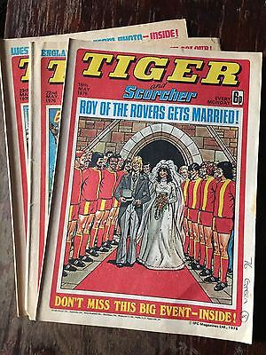 Tiger, featuring Roy of the Rovers wedding. 3x comics complete run from May 1976