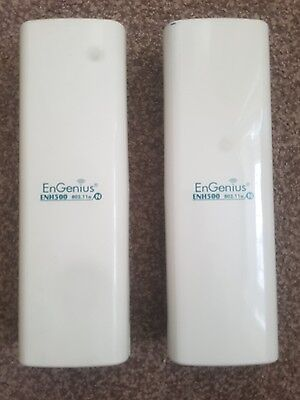 2 EnGenius ENH500 Outdoor Wireless Access Point Long Range Pair With PSU