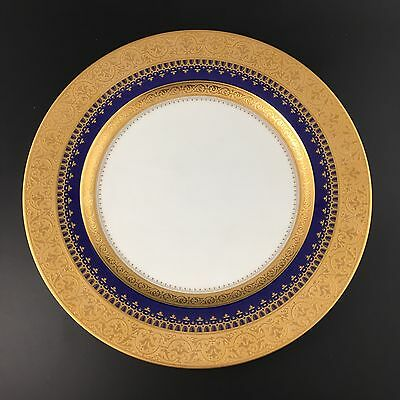 """MINT  FABERGE Imperial Heritage Cobalt 10-7/8 """" Dinner Plate Gold Encrusted"""