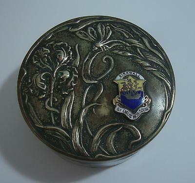 Pretty Art Nouveau Silver Plated Trinket Box Tin ~ Enamel Kirkwall Orkney Crest