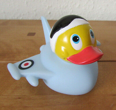Fab Novelty Raf Pilot & Plane Rubber Duck Toy Ornament - Blue - New For 2017