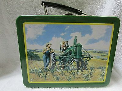 """John Deere Metal Tin Tote Lunch Box """"Lunchtime"""" Item # 22001"""