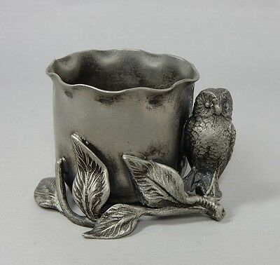 Antique Pewter Figural Owl on Branch Toothpick Holder Aurora 195
