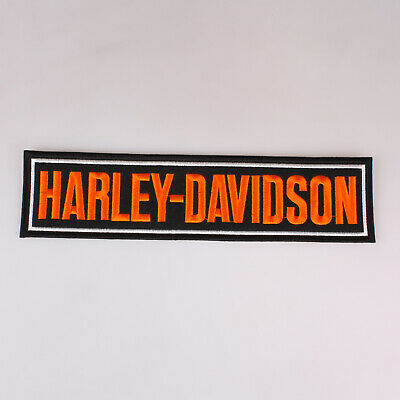 """Harley Davidson Motor Cycles Large Bar Embroidered Patch Iron On 11x2.7"""" 28x7Cm"""