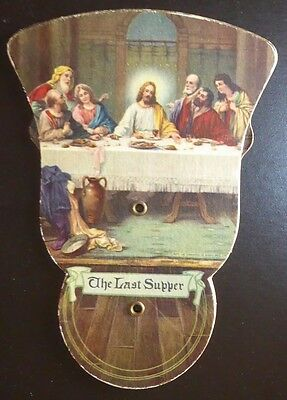 Vintage Jesus The Last Supper Tri-Fold Fan Funeral Home Mineral Wells, Texas