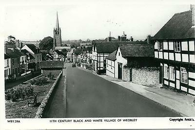 Weobley Village, Herefordshire Rp. Postcard.