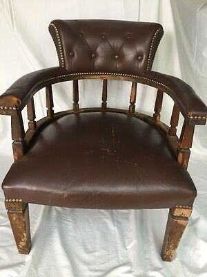 Antique Leather Captains Tub Office Fireside chair. Restoration Project