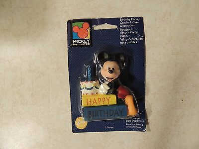 Vintage Disney Wilton Mickey Mouse Happy Birthday Candle & Cake Decoration