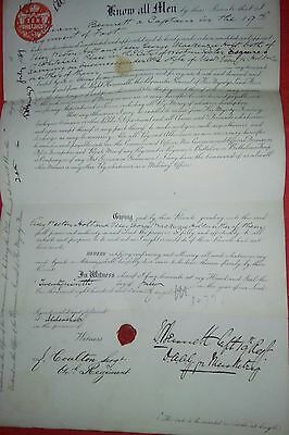 Captain W Bennet 19th Regiment of Foot 1878 - Army Letter of Attorney