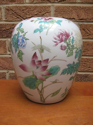 Large Chinese Hand Painted Vase Decorated With  Dragonflies & Butterflies