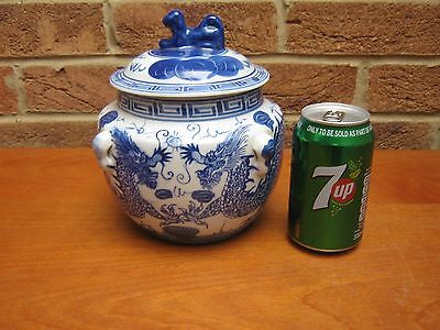 Chinese Blue/white Pot With Lid  Decorated With A Dragon