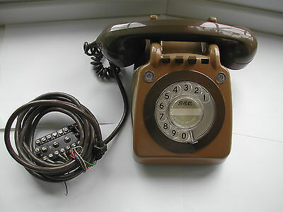 Vintage GEC 740 746 Switching Rotary Telephone Brown Two Tone