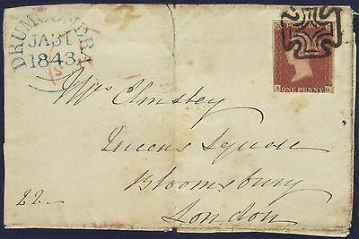 G.B 1843 Entire Front used in Drumcondra to London with Dublin Maltese Cross