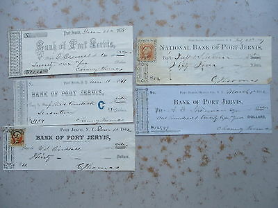 FIVE Checks Drawn From Bank of Port Jervis, New York , 1858 to 1862