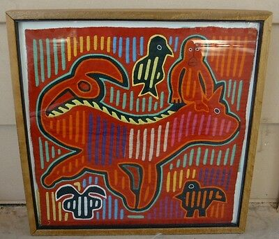 Vintage MOLA Fabric Art, San Blas Islands, FRAMED Monkey Riding Animal, w/Birds