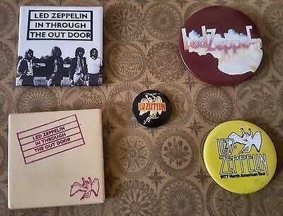 Lot of 5 Vintage Led Zeppelin Pins Pinbacks 1970s In Through the Out Door