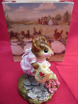 Vintage Boxed WEE FOREST FOLK Mouse Figurine & Box- Gardener Watering Flowers