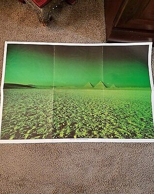 """Vintage Pink Floyd Poster Dark Side Of The Moon Green Pyramids Rock Band 30""""X20"""""""
