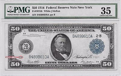 "VERY TOUGH!! 1914 LARGE-SIZE $50 ""TYPE-B"" NEW YORK Fr-1031b PMG CHOICE VF-35!!"